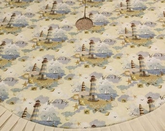 "LARGE 50"" Lighthouse Beach Theme Christmas Tree Skirt IN STOCK"