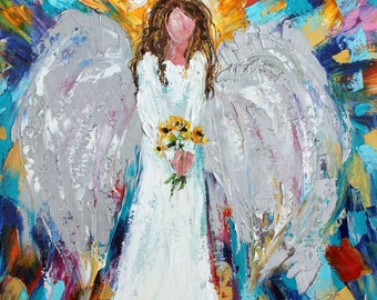 Original oil painting Angel and Sunflowers abstract palette knife impressionism on canvas fine art by Karen Tarlton
