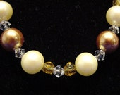 Golden Amber colored and Cream colored Simulated Pearl Necklace and Earring Set