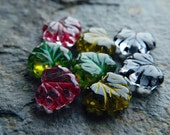 Maple Leaf bead mix, Czech glass bead mix, glass leaf beads, large leaf beads, 11x13mm, clear glass & multicolour inlays (16pcs) NEW