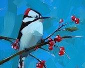 Downy Woodpecker Art Print by Angela Moulton 6 x 6 inch or 8 x 8 inch