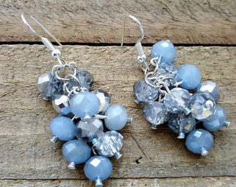 Something Borrowed Beaded Cluster Earrings, Baby Blue Beaded Dangles, Gifts for her Birthday Anniversary, Something Blue Romantic Gift