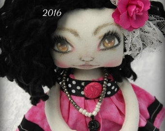 On SaLe  Cloth Art  Goth Raggedy Marceline  Doll ooak Handmade creepy cute Gothic  big eye