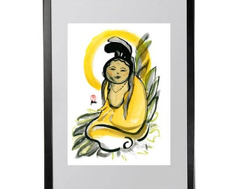 Zen Goddess Buddha Watercolor and sumi e Painting, Kanzeon, Kannon, Kwan Yin, Zen Art, zen decor, japanese illustration, yoga art, tao