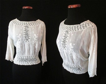 Romantic Edwardian Embroidered White Cotton Blouse with Embroidery and Lace Downton Abbey Boho Chic Size-Medium-Large