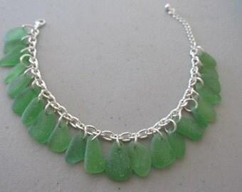 Chain Link Bracelet, Sea Glass Jewelry, Sea Glass Bracelet, Chain Bracelet, Beach Glass Jewelry, Sea Glass Gift, Beach Jewelry