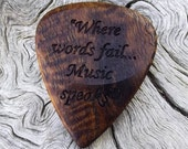 Wood Guitar Pick - Premium Quality - Handmade With Hawaiian Curly Koa - Laser Engraved Both Sides - Actual Pick Shown