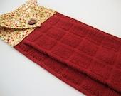 FALL Berries Hanging Kitchen Dish Towel - Autumn Dish Towel - Button Top Towel - Brick Red Kitchen Dish Towel - Autumn Fall Kitchen Decor