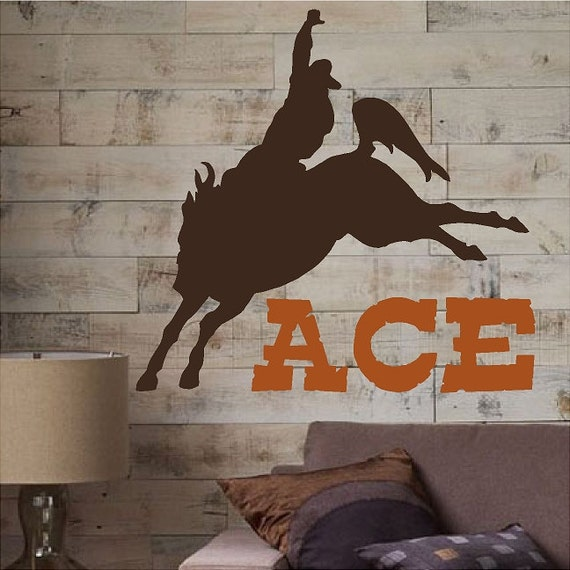 Personalized Cowboy Decal Removable Western Wall Sticker