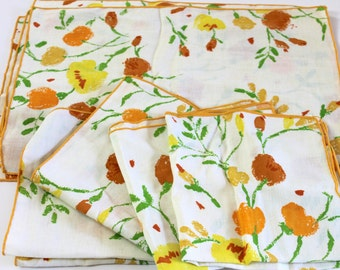 Retro Vintage Placemats & Napkin Set vintage retro floral Dining Room Home Decor mustard yellow rust brown painted floral 4 place settings