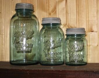 3 Blue Mason Jars Canister Set W 3 Zinc Lids Milk Glass Half Gallon Quart Pint Kitchen Storage Farmhouse Minimalist