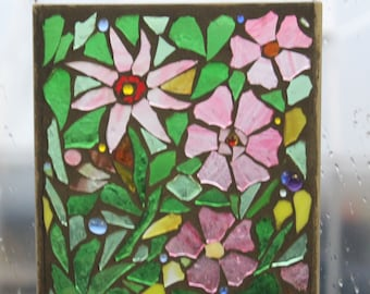 REd and pink Suncatcher . Stained Glass SunCatcher or wall Decoration