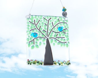 Blue Birds of Happiness in the Tree of Life //  Fused ARt Glass //  Suncatcher // Bright // Fun //Cheerful // Summer // Spring // Get Well