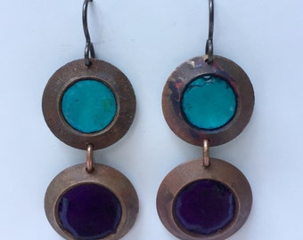 Aqua and dark Purple Glass and Copper Earrings