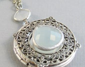 Sea Salt,Locket,Blue Locket,Aquamarine Jewelry,Aquamarine Locket,Locket,Silver Locket,Blue Locket,March Birthstone valleygirldesigns.