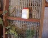 Valentines SALE Vintage Primitive Wall Shelf, Red Barn Paint, Galvanized Steel, Knick Knack Shelf, Kitchen, Powder Room, Rustic Decor