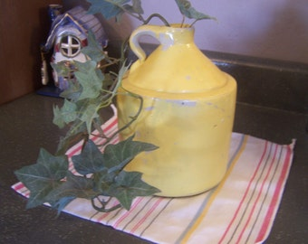 SALE, Old Stoneware Whiskey Jug, Painted Yellow, Moonshine Jug, Primitive, Rustic, Crock Jug