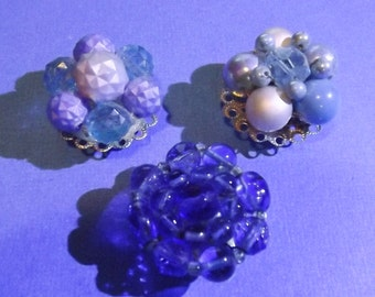 3 Vintage Jewelry Magnets Beaded Earrings BLUES!