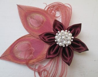 MARSALA Wedding Fascinator, Burgundy- Red Wine- Cranberry Flower, French Veil, Wedding Corsage, Prom Corsage, Fall Rustic- Country Bride