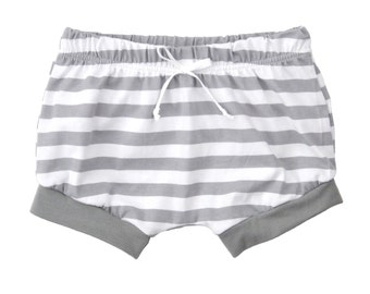 Shorties | Gray Stripes | Sizes 3 Months to 5T |  boy shorts, unisex shorts, girl shorts, summer shorts, gray shorts