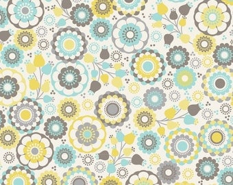 Joyful Garden - Happiness II - Ivory  Cotton Print - Fabric by David Textiles - you choose the cut