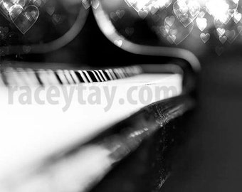 Black and White Piano Print, Paris Decor, Music Lovers, Abstract, Paris Print, Piano Photograph, Love Notes