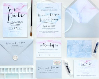 Antheia Watercolor Invitation Suite - SAMPLE ONLY (Price is not full order per unit price, see description)