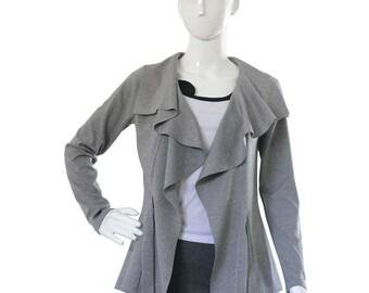 Ruffled jacket - Jersey jacket - Spring jacket - Long sleeve jacket - Custom jacket - Womens plus size clothing - Plus size jacket