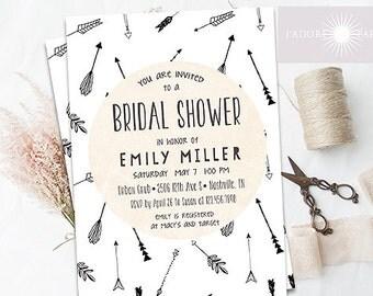 Arrow Bridal Shower, Bridal Shower Invitation, Couple Shower, Printable Invitation, Rustic Invite, Hipster Invite, Modern, jadorepaperie