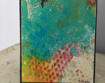 Collage art, mixed media print mounted on wood,Be Happy,inspirational,bee collage