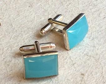 Ocean quartz cuff links, Gemstone cuff links, Silver cuff links, rectangle cuff links, unique bohemian cuff links -  Sudden Wind C8002