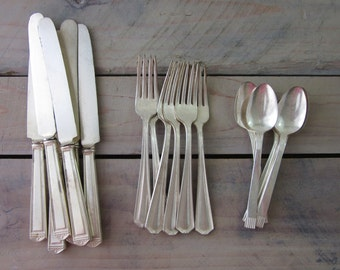 Silverplate Flatware Set Mismatched Service for Six 18 Pieces