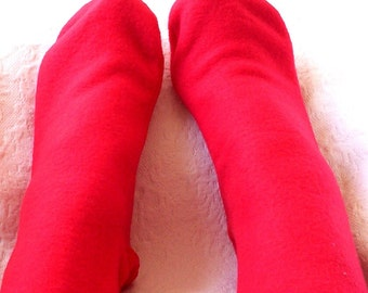 Warm Red Fleece Socks,  Ladies  Handmade Socks, Soft Bed Socks, Gifts for Her, Keep Feet Warm, Polar Fleece Socks, Warm Fleece Footwear