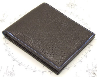 Brown leather wallet with 3 card pockets, zip coin pocket and astro space chart lining
