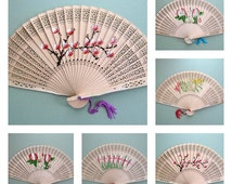 Party Fan Supplies Hand Fan Favors Flower Fan Decor Wood Fan Decorations Floral Fans Folding Fans Party Supplies Party Favors Party Decor