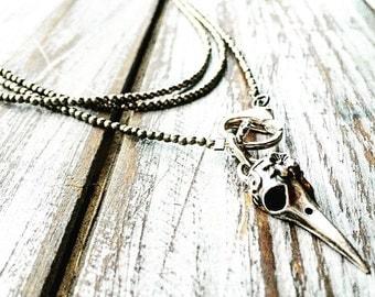 Raven Bird Skull Triple Strand Choker Style Necklace with Pyrite Gemstones