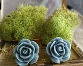 Flower Plugs, Wedding Gauges, Prom Plugs, Slate Blue Roses