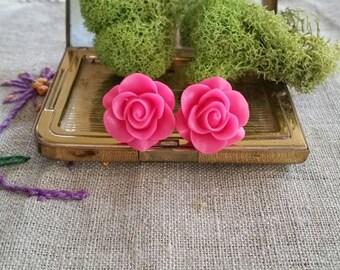 Flower Plugs, Wedding Gauges, Hot Pink, Roses