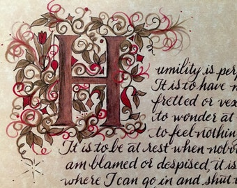 Calligraphy, Humility quote by Andrew Murray, Print of Hand Painted Original,Paper Only, Initial Letter Gold and hand written text