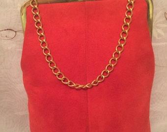 Vintage Suede Red/Orange Handbag Clutch Chic Preppy Fashion Wear