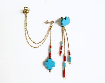 Chain Ear Cuff Earrings, Turquoise Ear Cuff with Chains, Cross Beaded Asymmetrical Earrings