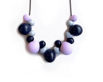 Blue Purple Polymer Necklace, Bubble Statement Necklace, Modern Everyday Necklace, Beaded Clay Necklace