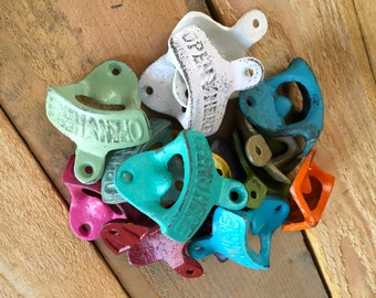 "Bottle Opener - Cast Iron - Wall Decor - ""Open Here"" - You Pick Color"