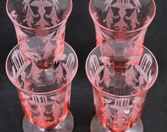 Set of 4, Tiffin, Fontaine Etched Pink Tumblers