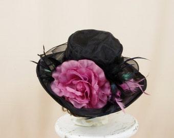 SALE Pink and Black Hat * Black Derby Hat * Church Hat * Formal Hat * Fashion Hat * Black Floral Hat * Wide Brim Hat * Black Floppy Hat