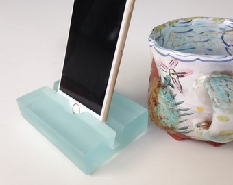 Beach Glass, Aquamarine Groove iPhone Stand- Modern Minimalism at its Best, Great Gift Idea,Doubles as Business Card Holder!