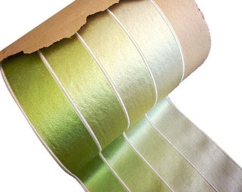 """Antique Victorian Wide Silk Ribbon  - 3 3/4"""" wide -  Antique Silk Trim- Wide Green Silk Millinery Ribbon by the yard"""