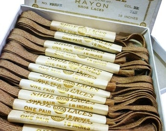 """1920s 18"""" Flat Woven Light Silky Brown Rayon Shoelaces for Vintage Oxford Shoes- Shoestrings - Bootlaces - 1930s Shoe Laces"""