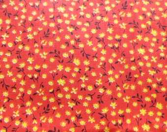 Vintage Calico Floral Red Yellow Cotton Print Fabric 5 yards Small Scale 1930s
