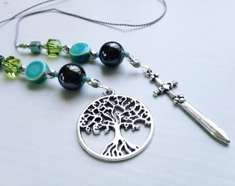 Divergent AMITY faction Gift Bookmark Beaded Book Thong Rear View Mirror Car Accessory Urban Fantasy Tree of Life and Sword Charms Insurgent
